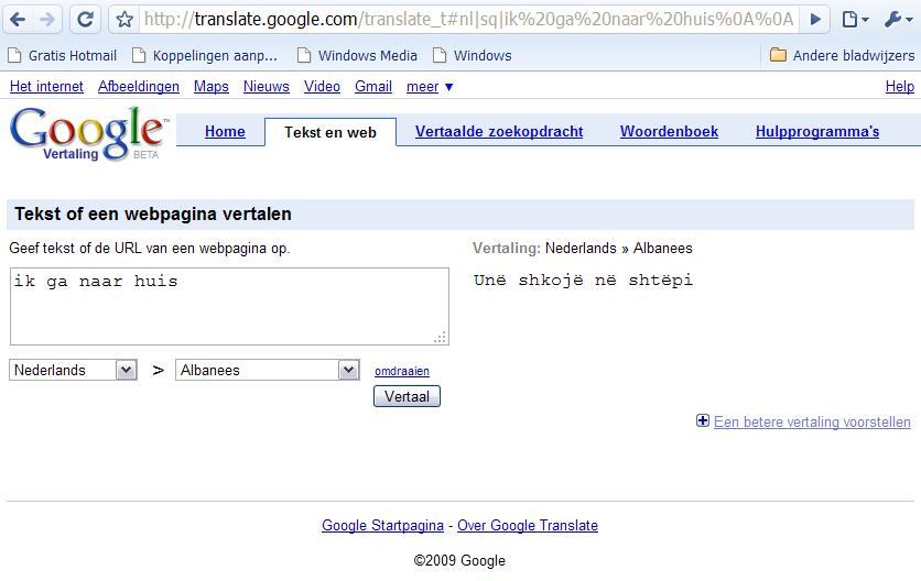 Albanees in Google Translate